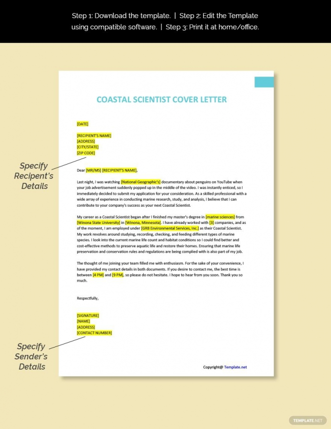 Free Coastal Scientist Cover Letter