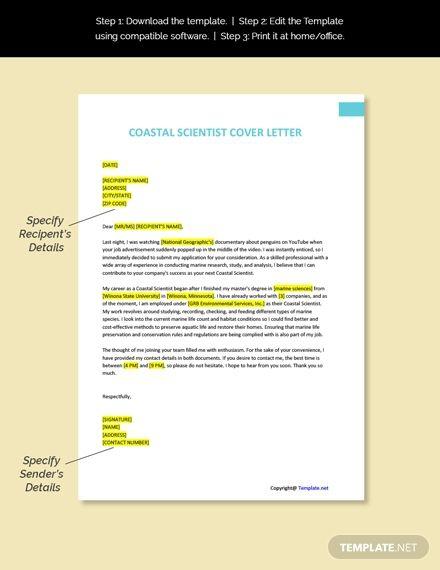 Free Coastal Scientist Cover Letter