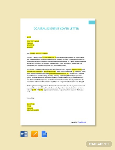 Free Coastal Scientist Cover Letter Template