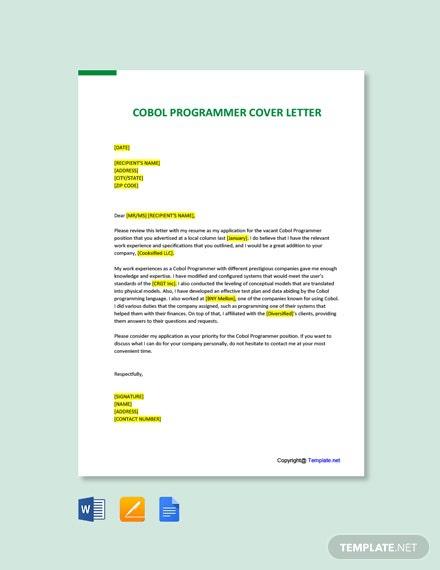 Free Cobol Programmer Cover Letter Template