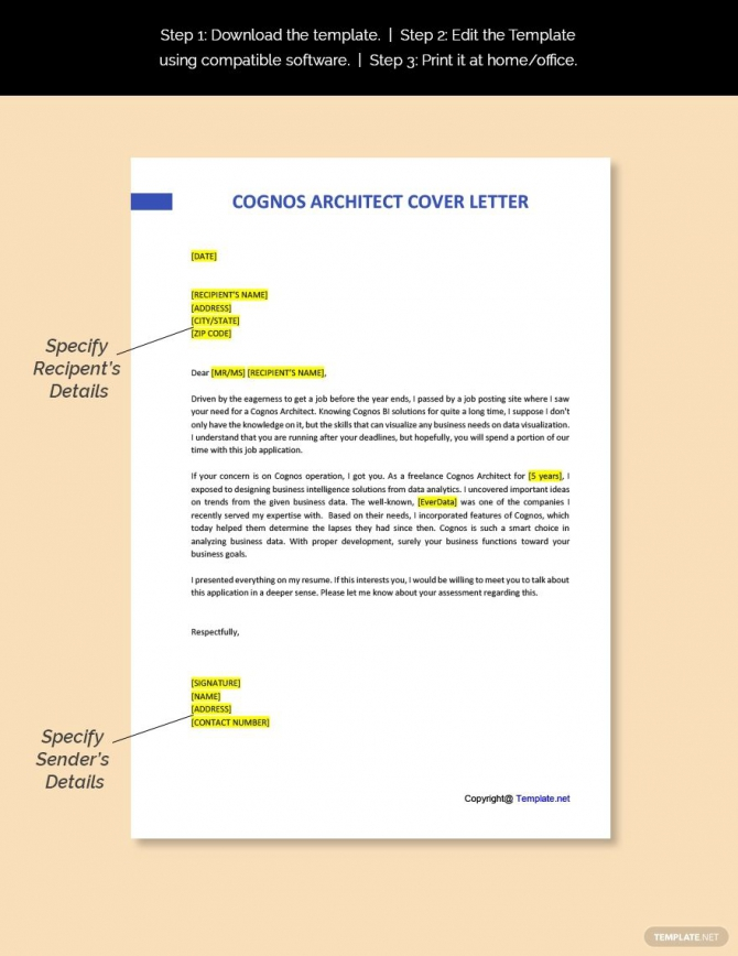 Free Cognos Architect Cover Letter Template Ad    Ad  Architect