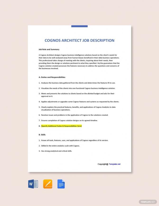 Free Cognos Architect Job Description In