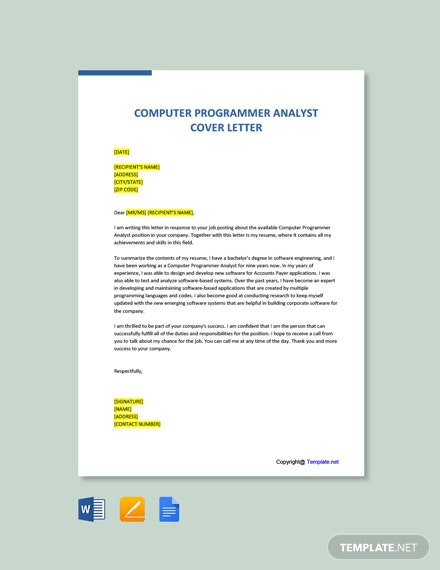 Free Computer Programmer Analyst Cover Letter Template