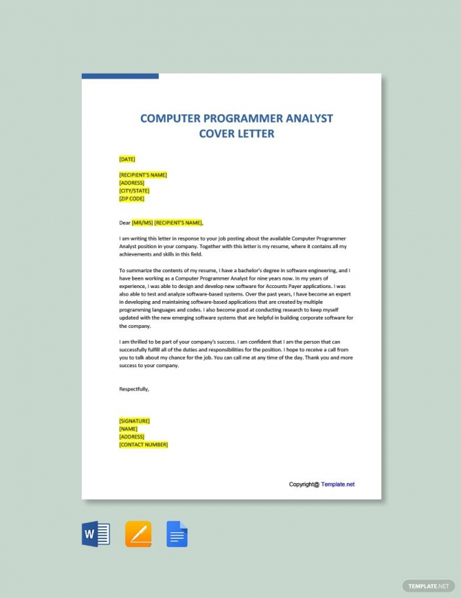 Free Computer Programmer Analyst Cover Letter Template Ad