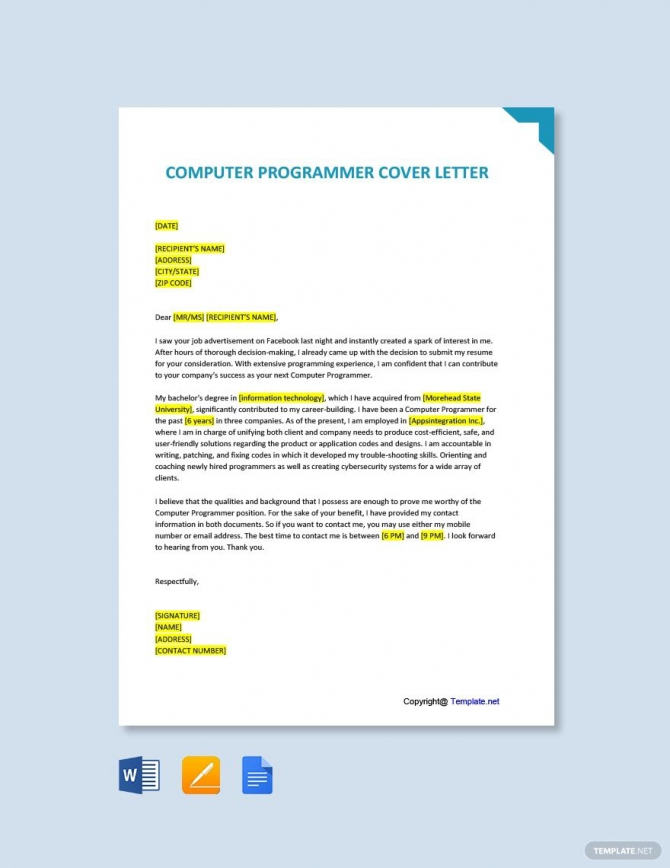 Free Computer Programmer Cover Letter Template In