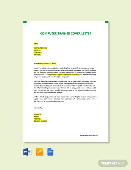 Free Computer Trainer Cover Letter Template