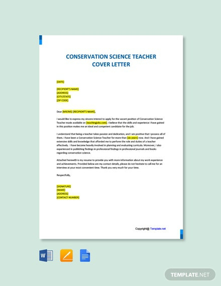 Free Conservation Science Teacher Official Cover Letter Template