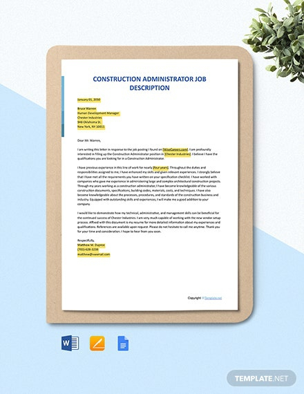 Free Construction Administrator Cover Letter