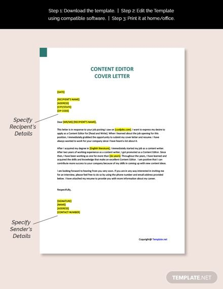 Free Content Editor Cover Letter Template Ad    Affiliate