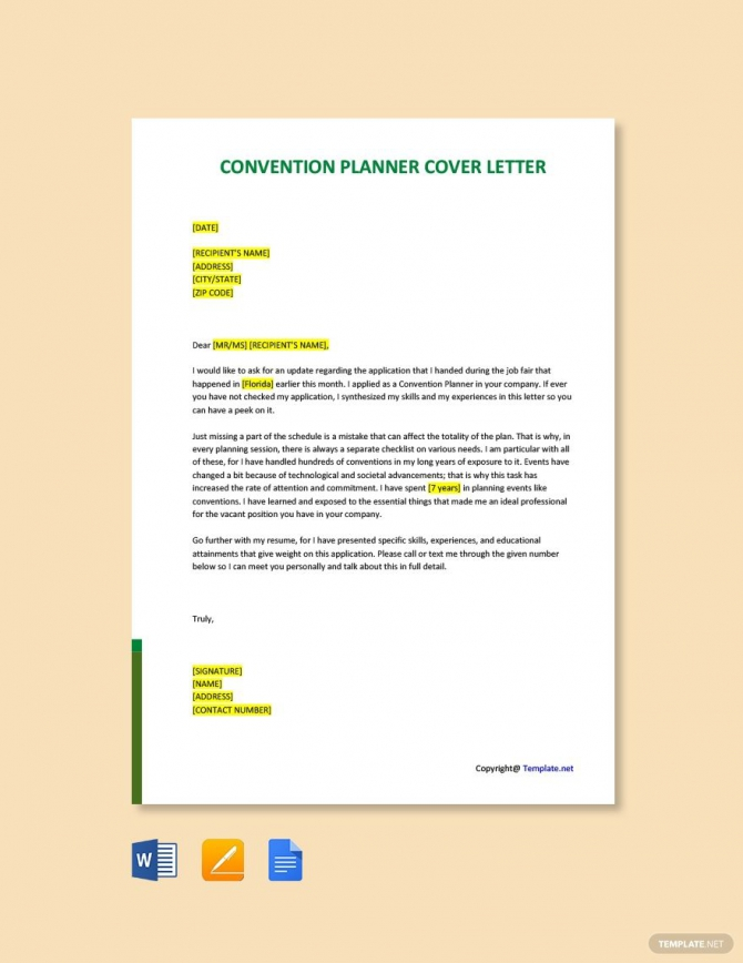 Free Convention Planner Cover Letter Template Ad    Paid