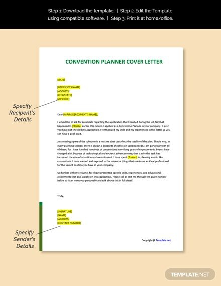 Free Convention Planner Cover Letter Template In