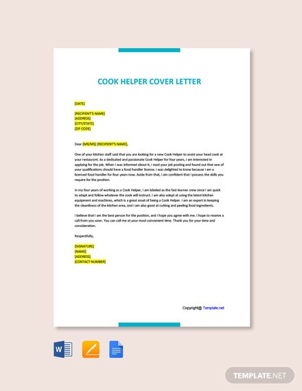 Free Cook Helper Cover Letter Template