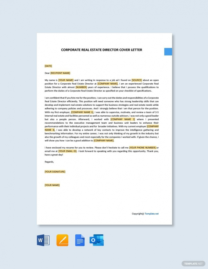 Free Corporate Real Estate Director Cover Letter