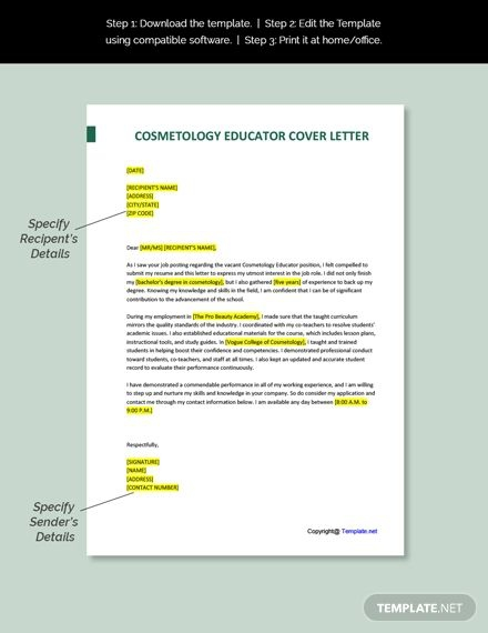 Free Cosmetology Educator Cover Letter Template In