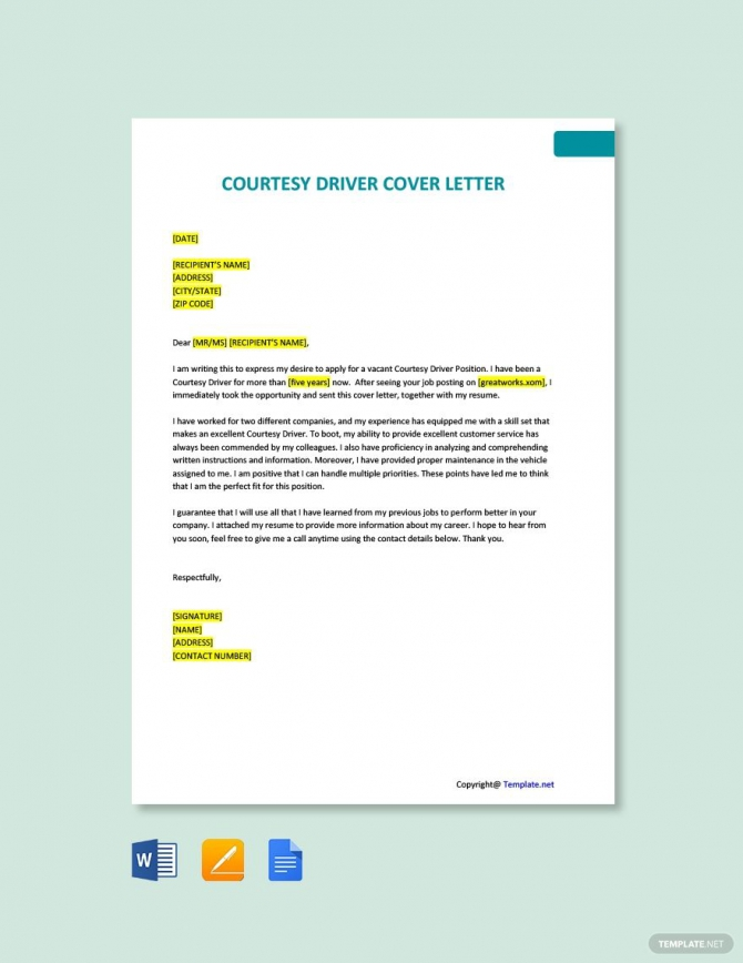 Free Courtesy Driver Cover Letter Template Ad    Paid  Driver