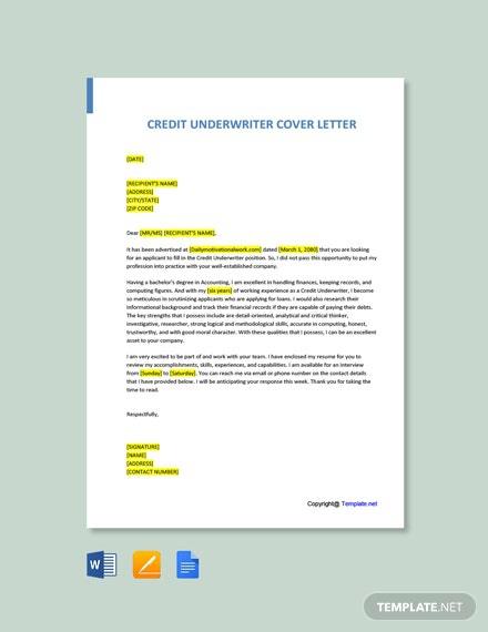 Free Credit Underwriter Cover Letter Template