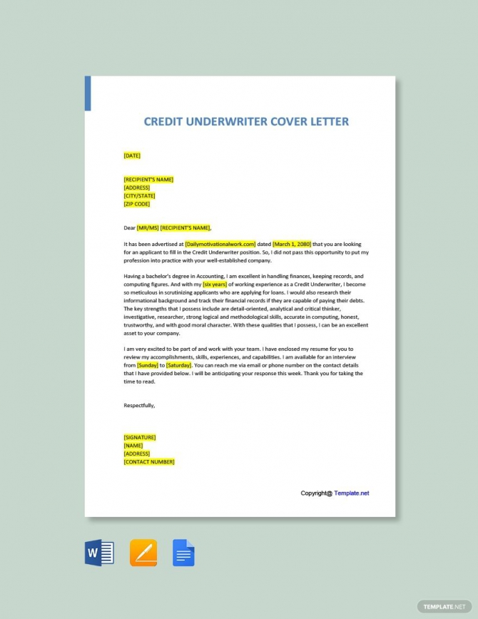 Free Credit Underwriter Cover Letter Template Ad    Paid