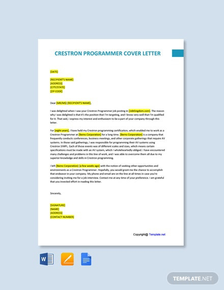 Free Crestron Programmer Cover Letter Template