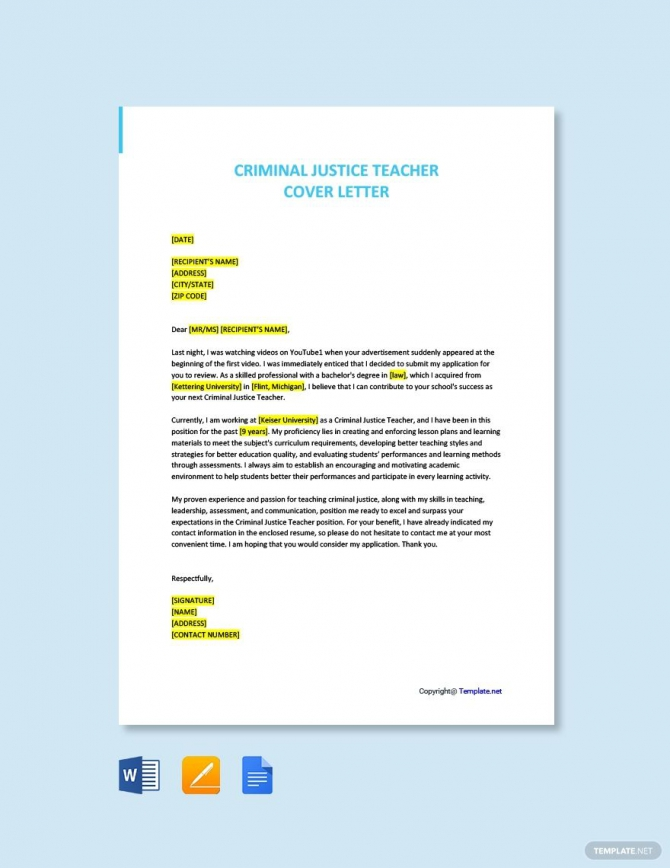 Free Criminal Justice Teacher Cover Letter Template Ad    Ad