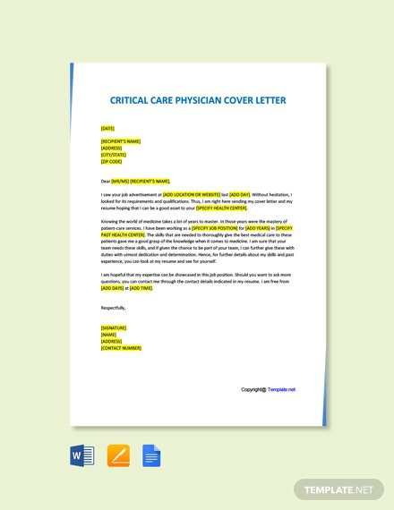 Free Critical Care Physician Cover Letter Template