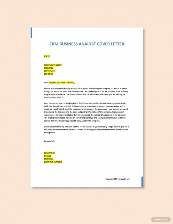 Free Crm Business Analyst Cover Letter Template In