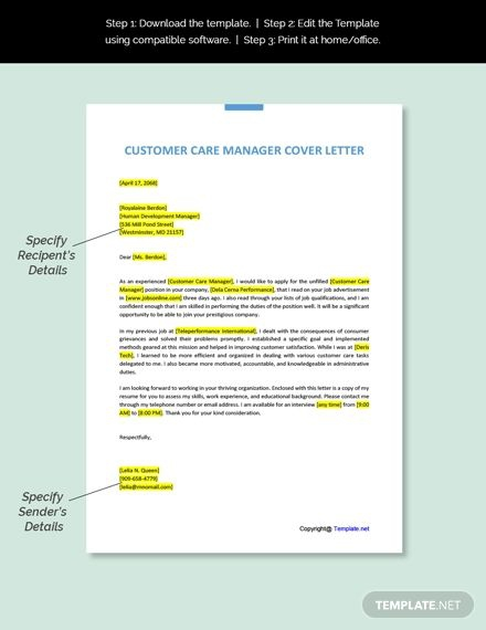 Free Customer Care Manager Cover Letter Template Ad    Affiliate