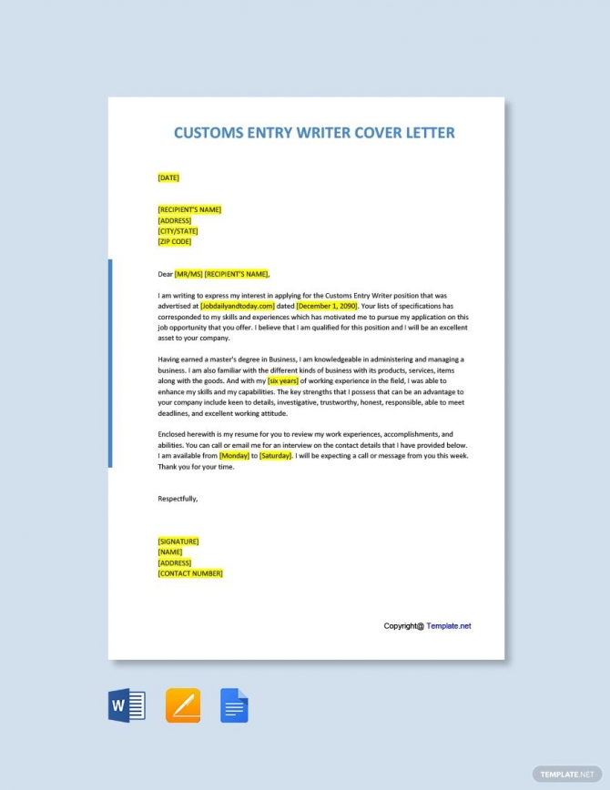 Free Customs Entry Writer Cover Letter Template Ad    Ad  Entry