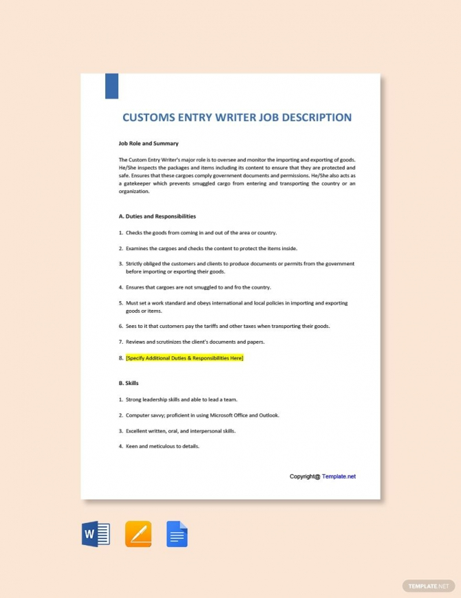 Free Customs Entry Writer Job Description Template Ad