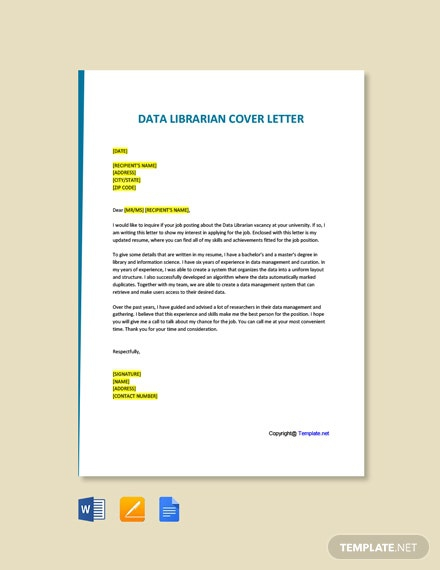 Free Data Librarian Cover Letter Template