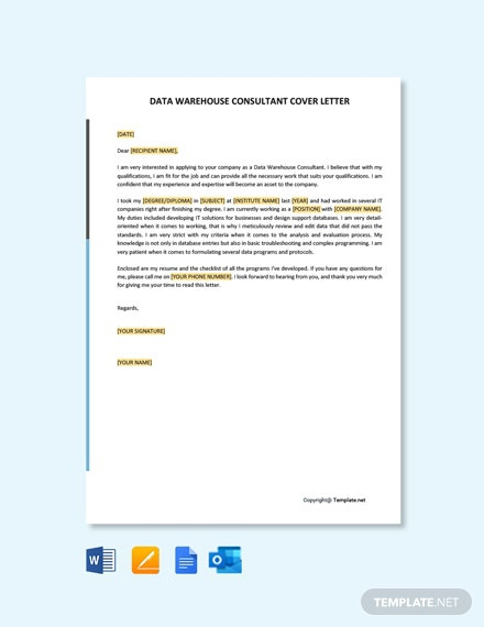 Free Data Warehouse Consultant Cover Letter
