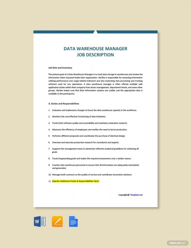 Free Data Warehouse Manager Job Description Template Ad
