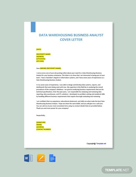 Free Data Warehousing Business Analyst Cover Letter Template