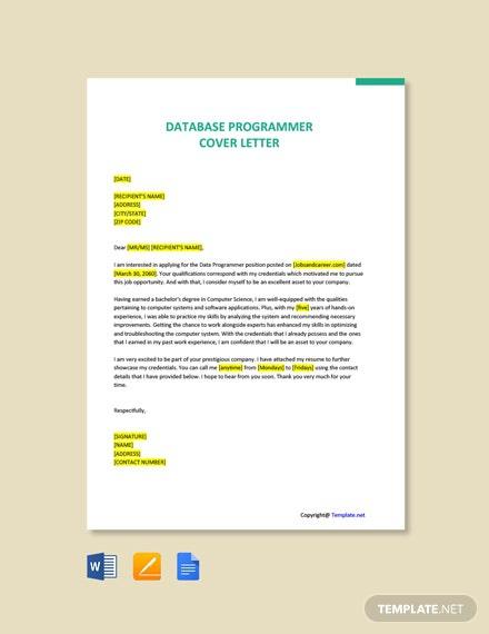 Free Database Programmer Cover Letter