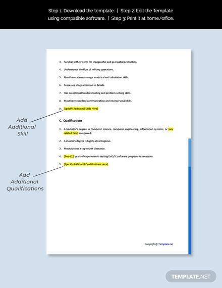 Free Dcgs Tester Job Description Template In