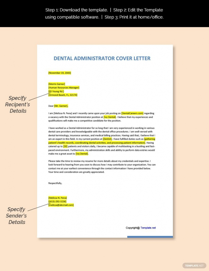 Free Dental Administrator Cover Letter Template In