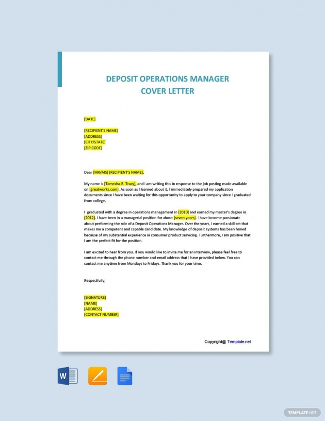 Free Deposit Operations Manager Cover Letter Template Ad    Paid