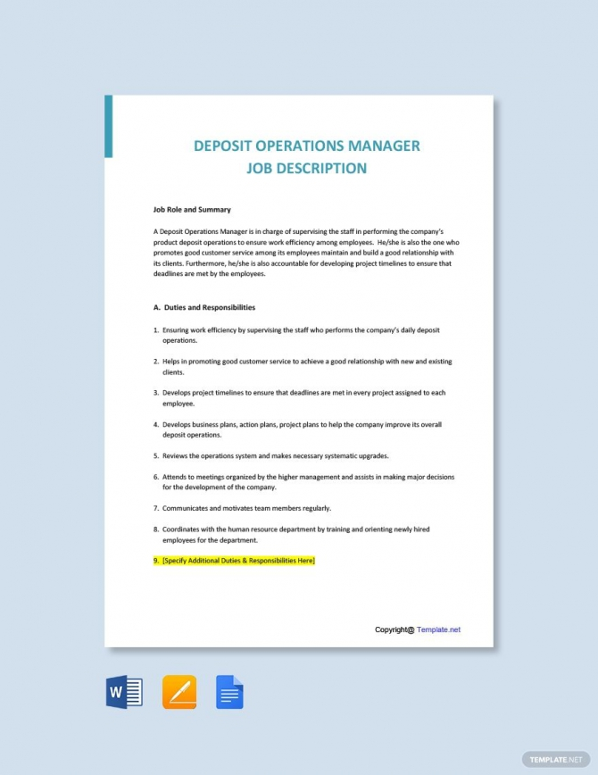 Free Deposit Operations Manager Job Description Template In