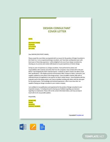 Free Design Consultant Cover Letter