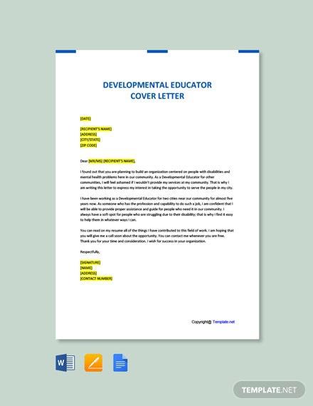 Free Developmental Educator Cover Letter Template