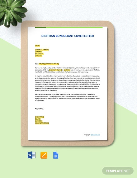 Free Dietitian Consultant Cover Letter