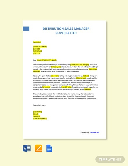 Free Distribution Sales Manager Cover Letter Template