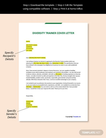 Free Diversity Trainer Cover Letter Template