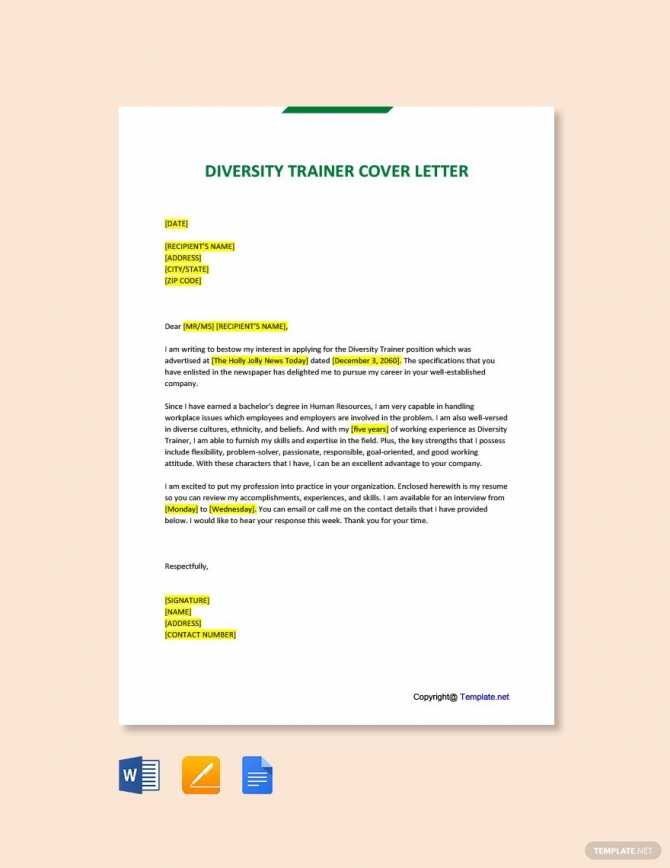 Free Diversity Trainer Cover Letter Template In