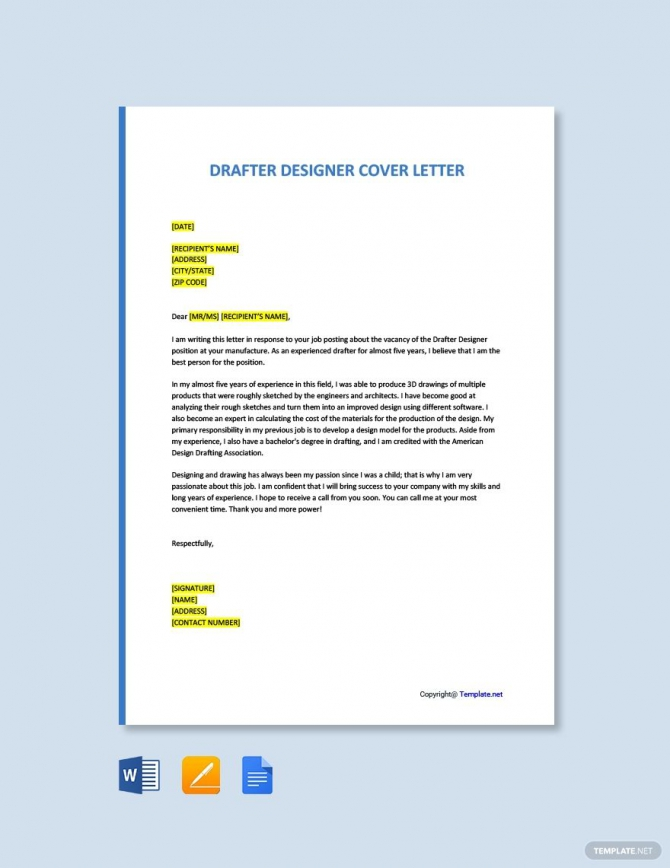 Free Drafter Designer Cover Letter