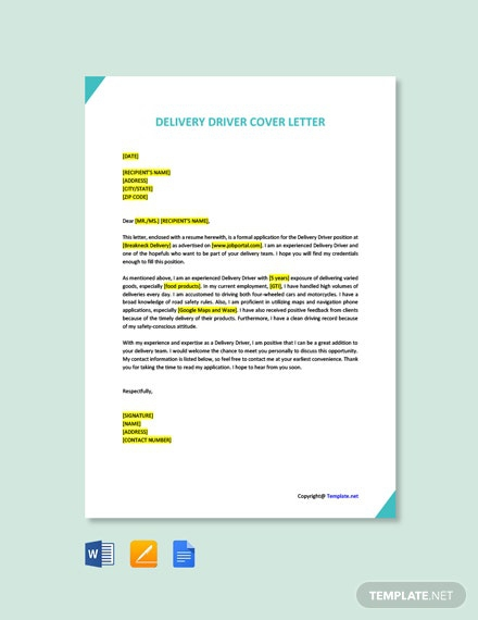 Free Driver Cover Letter Templates