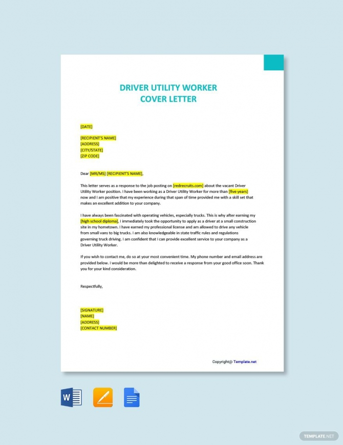 Free Driver Utility Worker Cover Letter Template Ad    Paid