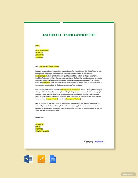 Free Dsl Circuit Tester Cover Letter