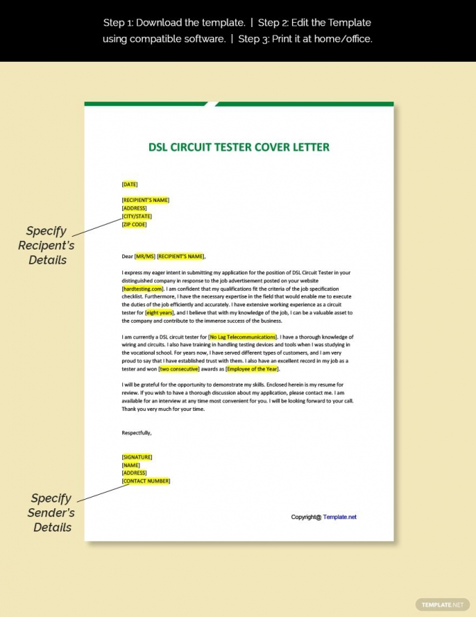 Free Dsl Circuit Tester Cover Letter Template