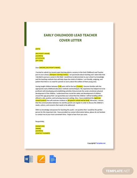 Free Early Childhood Lead Teacher Cover Letter Template