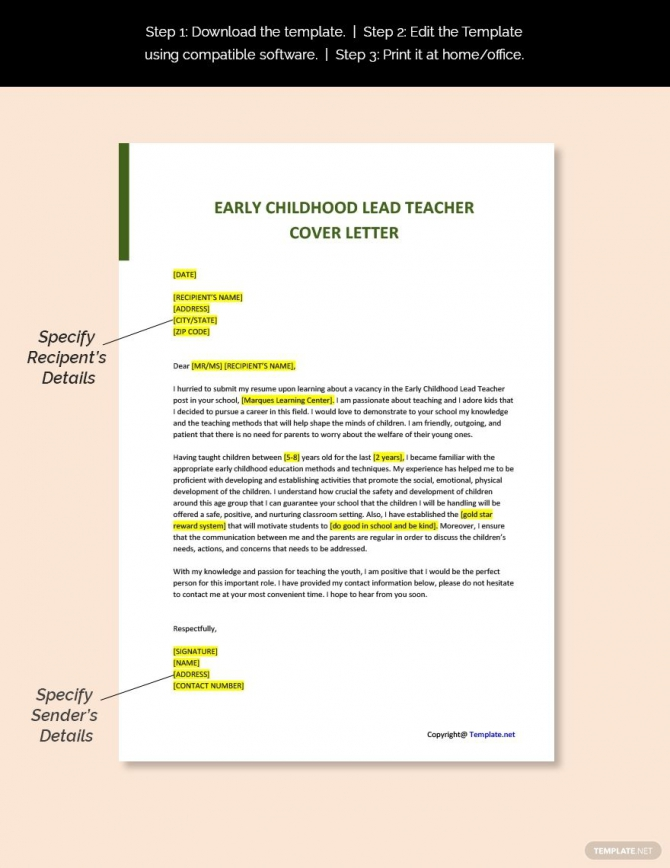 Free Early Childhood Lead Teacher Cover Letter Template In